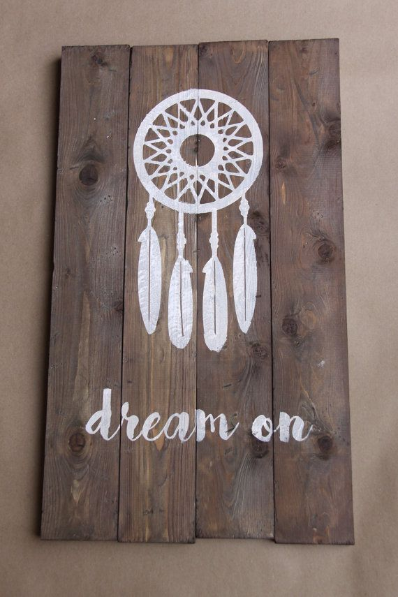 DIY Distressed Wood Sign: Dream On by LemonSqueezyStudios on Etsy