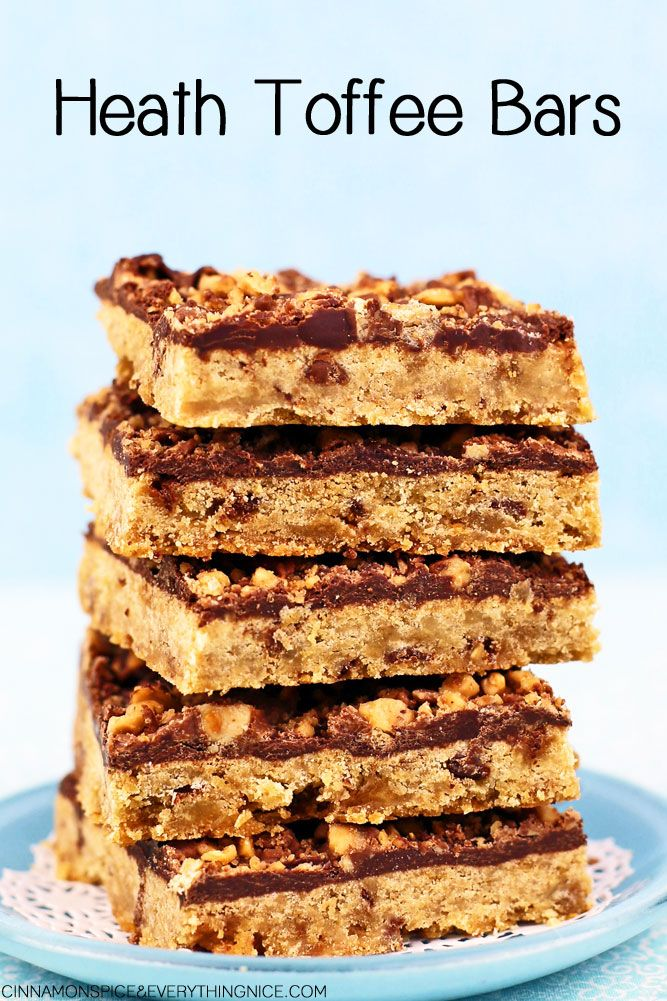 Delectable cookie bars loaded with milk chocolate toffee bits inside and out.