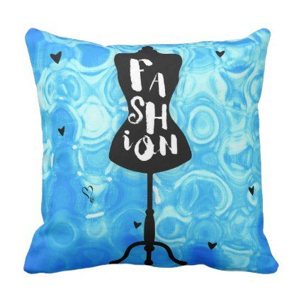 Fashion Mannequin Stand Blue Retro Vintage Throw Pillow - vintage gifts retro ideas cyo
