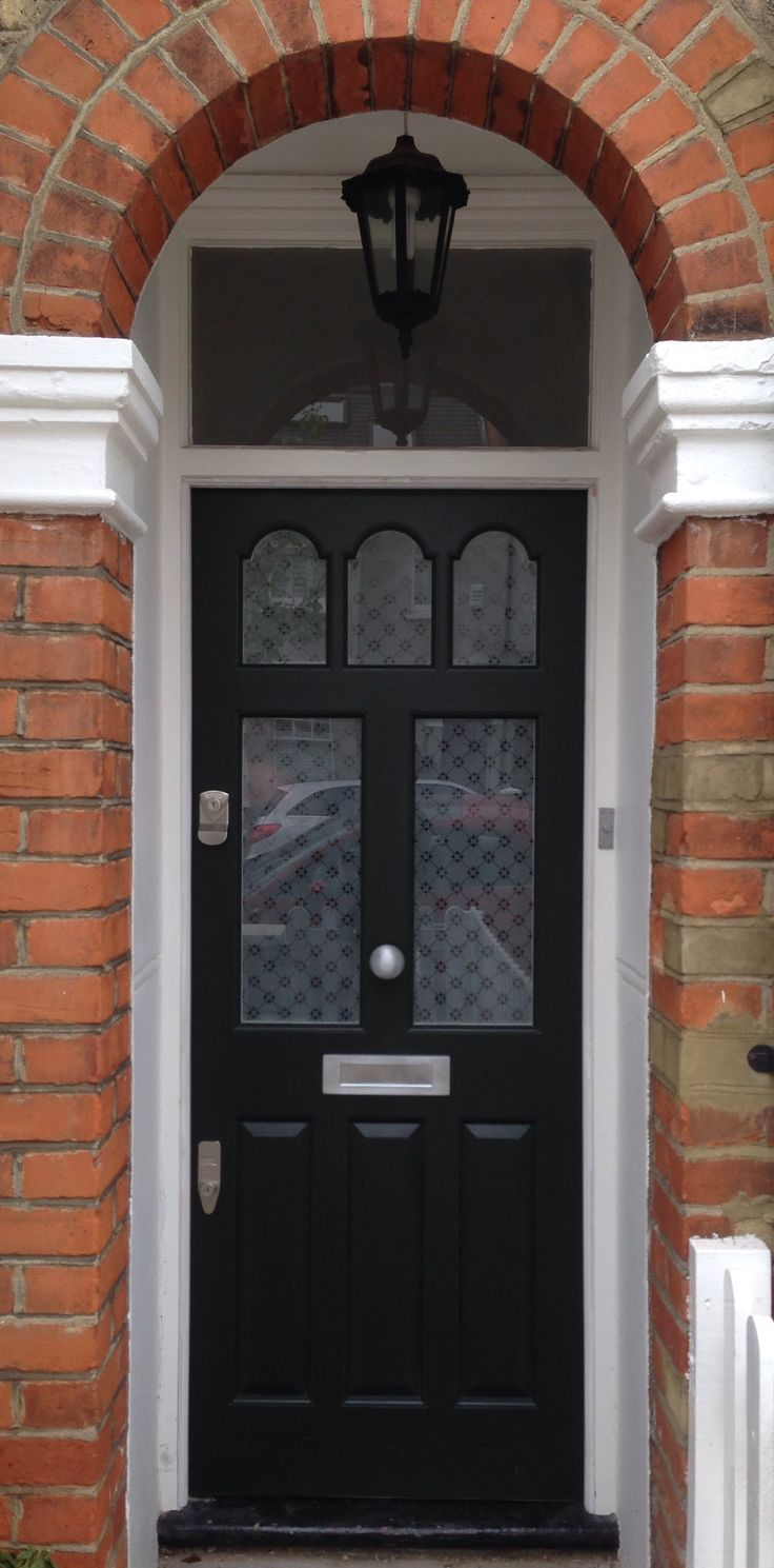 Very smart Victorian front door in F&B Studio Green with fleur, etched glass