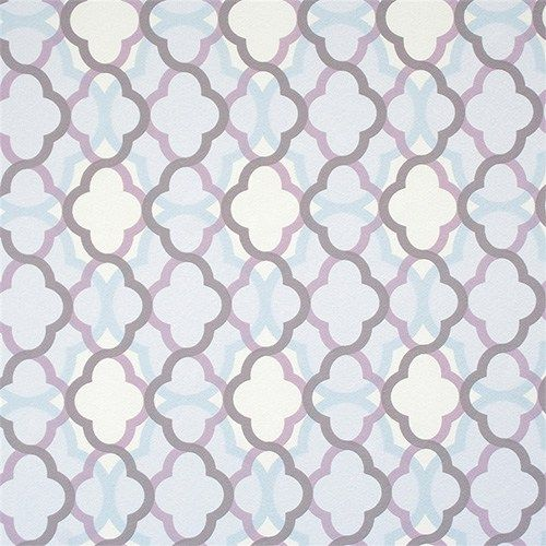 The unique overlay of pale blues and purple toned lattice geometry creates dynamic depth and contrast in a bedroom | Lilac Billows Wallpaper R2231