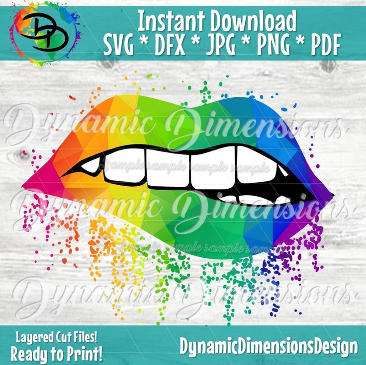 Sparkling Lips Rainbow Print SVG, Full Lip, Sparkle