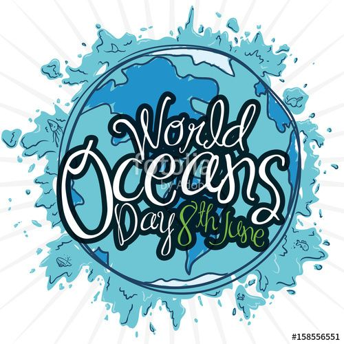 Blue Design with Splashes and Earth Planet for Oceans Day