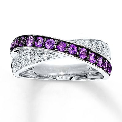 Amethyst Ring Lab-Created Sapphires Sterling Silver.. push present