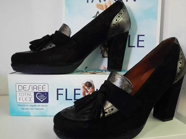 De Marca La Zapato Negro Tacón Piel Serraje Chica Española Para lFKJT1c