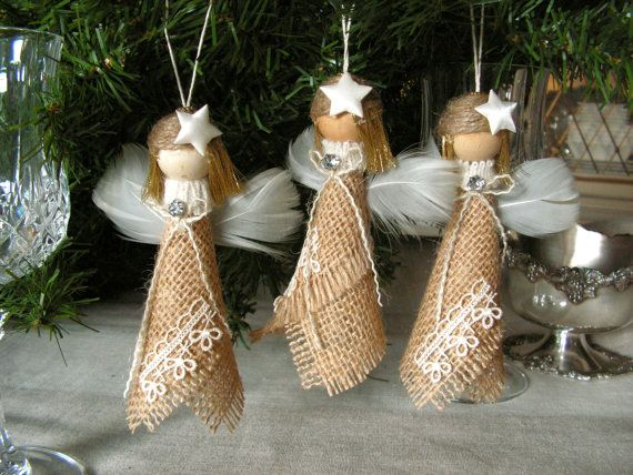 Christmas Ornament - Sackleinen-Angel - set 3