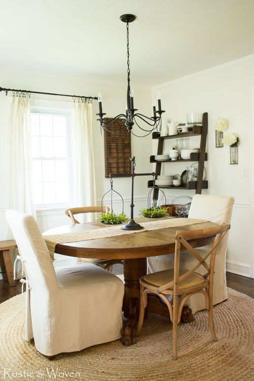 Neutral farmhouse style dining room open shelves natural for Casual dining room curtain ideas