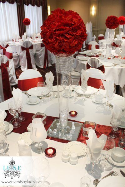 Burgundy and white tall wedding centerpiece