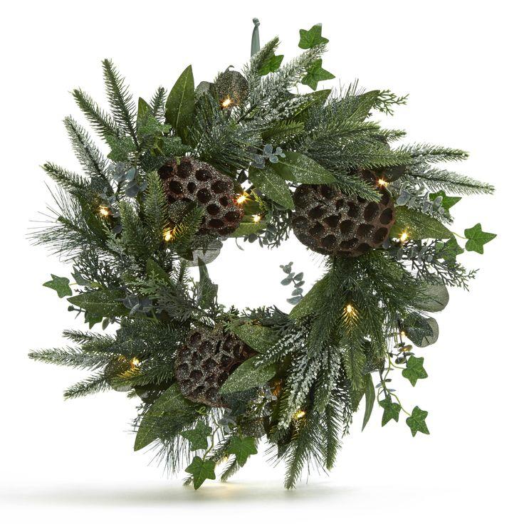 Laura Ashley Lit Winter Wreath