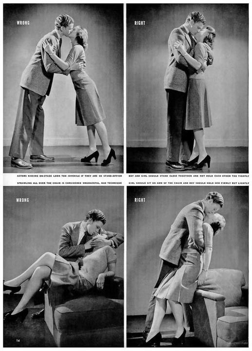 "In the 1940's Life magazine apparently ran a whole article called ""How to Kiss"""