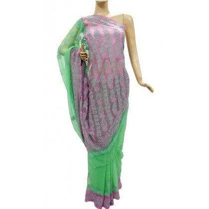 Chiffon Saree Lucknow Chikan (XIIK4356)