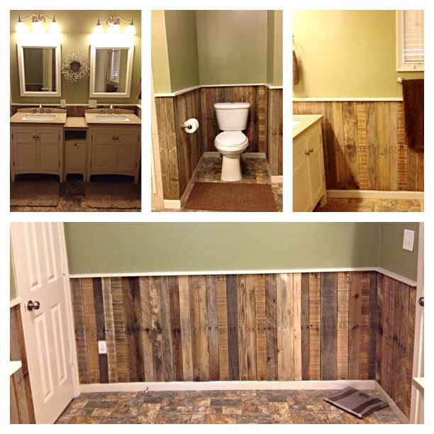 "This Wainscoting is made up of 5 pallets planks that equal about 25 feet then topped off with painted 1""x2""x8""."