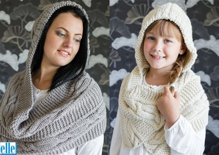 Hooded Cowls  Brand: Elle Count: Chunky Yarn: Pure Gold Chunky Size From: 8-10 years Size To: Adult