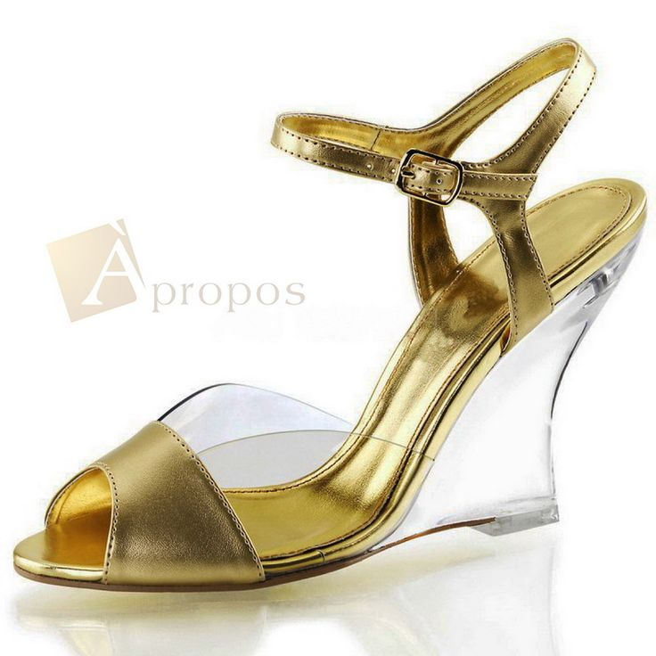 High Heels Pumps 10cm Klar Transparent Acryl Keilform Abendschuhe Gold Silber