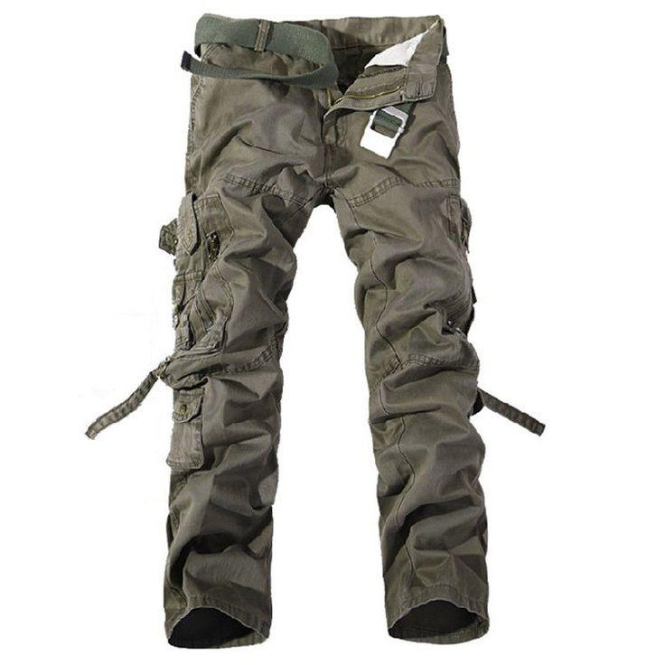 Новые мужчины открытый военные брюки брюки случайные хлопка свободные мешковатые тактические брюки