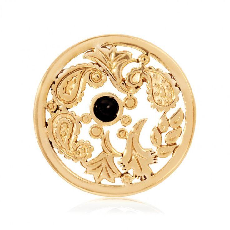 Nikki Lissoni Gold Plate Black & Gold Paisley w Onyx Coin