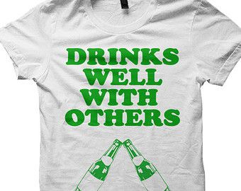 St Patrick's Day Irish Drinking T-shirt Tshirt Tee Shirts Beer Drunk Alcohol Funny Men Women Ladies Outfit Drinks Well With Others