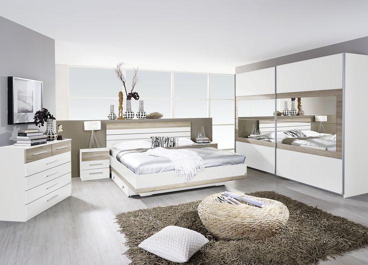 Schlafzimmer Mit Bett 180 X 200 Cm Alpinweiss  Eiche Sanremo Hell - günstige komplett schlafzimmer
