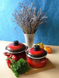 ELO Kochtöpfe, Emaille, Induktion, rot-schwarz, verschiedene Grösse