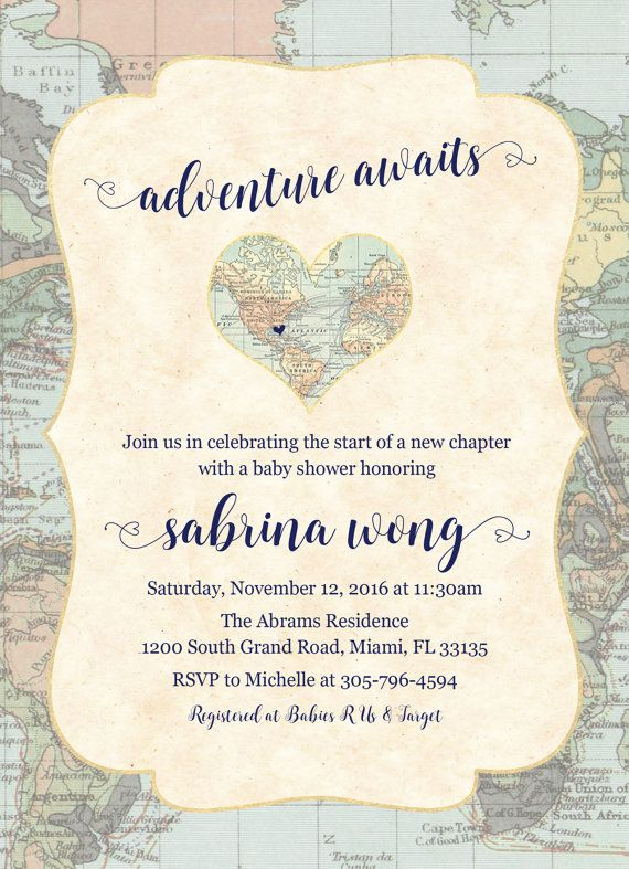 Adventure Awaits Baby Shower Invitation Map Travel by CasaConfetti