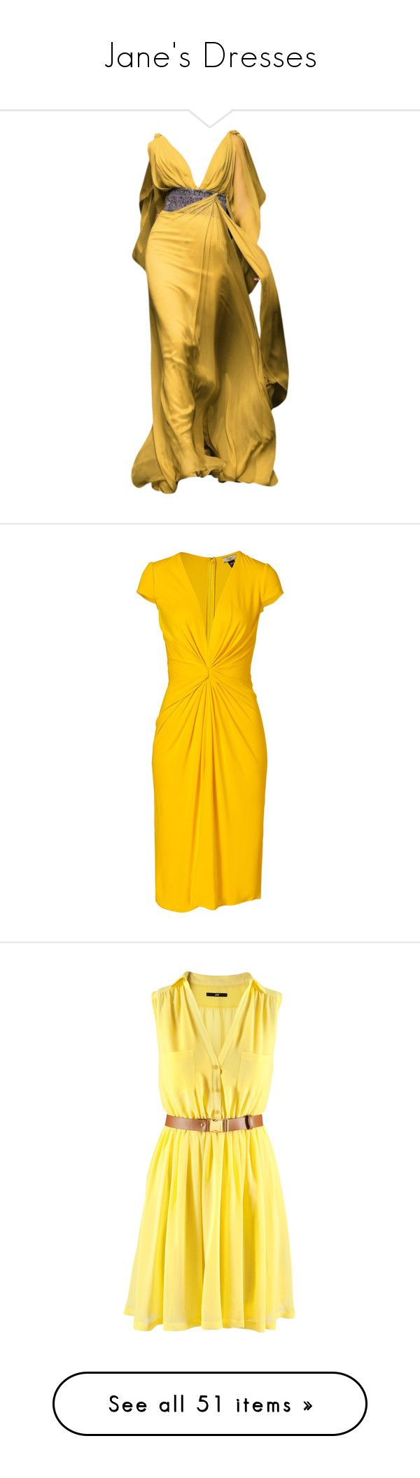 """""""Jane's Dresses"""" by disneydressing ❤ liked on Polyvore featuring dresses, gowns, long dress, vestidos, yellow evening gown, yellow dress, yellow ball gown, yellow gown, long dresses and yellow"""