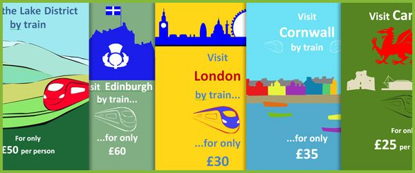 Editable Rail Travel Posters...A set of posters advertising rail travel journeys to: London, Edinburgh, Cardiff, the Lake District and Cornwall. They are put together in Microsoft Word so you can alter the text / translate in to other languages. Ideal to use as part of train station / travel role play scenarios.