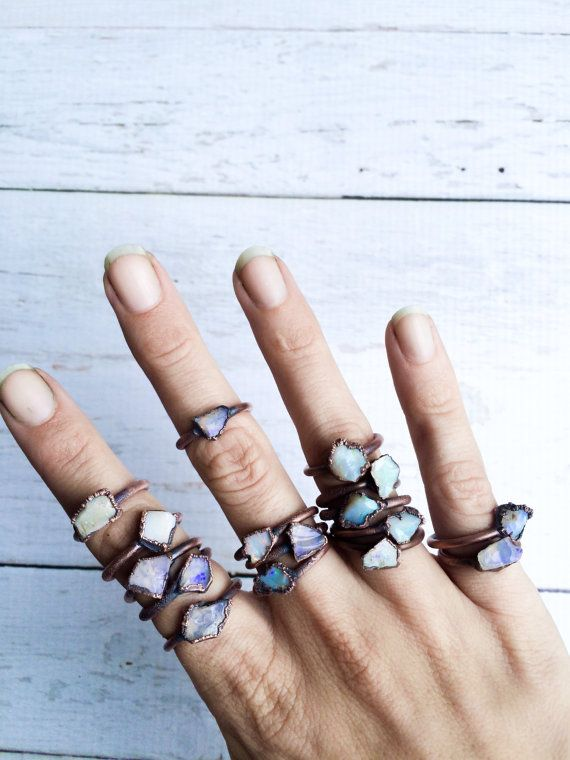 Raw opal ring Australian opal ring Rough opal ring by HAWKHOUSE