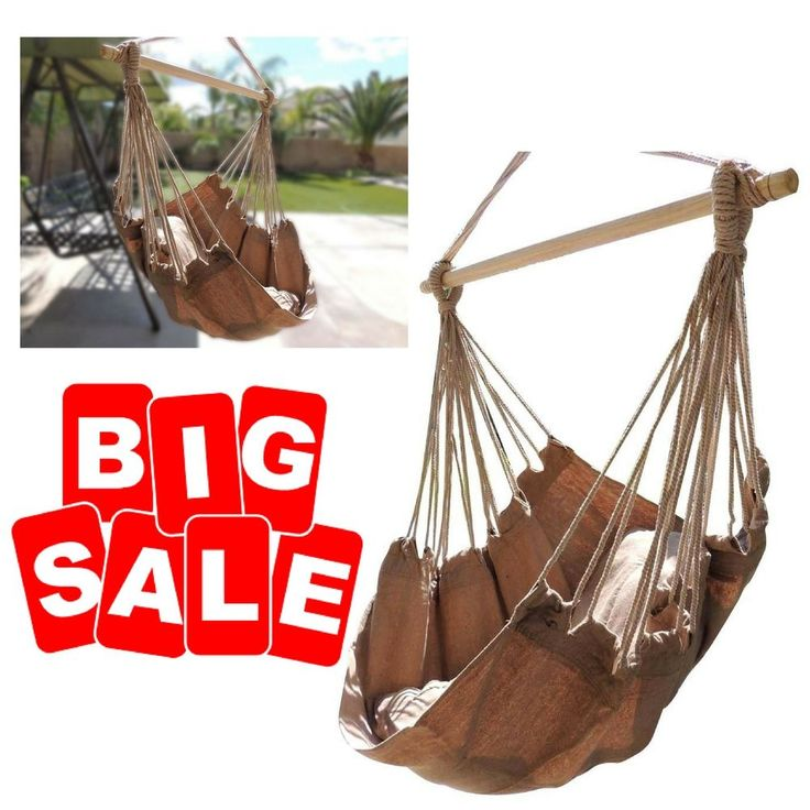 Hammock Rope Chair Porch Yard Tree Hanging Air Swing Outdoor Camp Seat US TAX 0 #Vansaile #cottonpolyesterWeightcapacity270lbs #chair #hammock #rope #swing #hanging #porch #outdoor #yard #tree #patio #deluxe #cotton #seat #polyester #blue #camping #garden #portable #stripe #indoor #single #striped