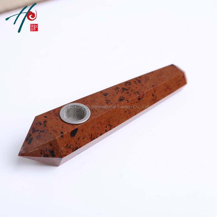 2016 Fashion Natural stones and minerals crystal portable long tobacco Free cheap crafts Red Obsidian smoking pipes for Sale