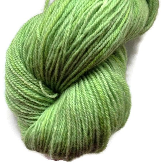 Green 4 Handdyed Corriedale Wool DK Weight Yarn, 3-ply, For Knitting, Crochet and Felting, Spring Green Hand Dyed Wool Yarn, Made in Denmark
