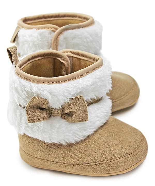 Look at this Z by Yoon Cream Faux Fur Bow Booties on # ...