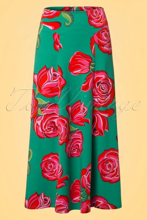 Lien & Giel Roses Jade green pink and red Ibiza Maxi Roses Skirt rok maxi bloemen print groen rood roze