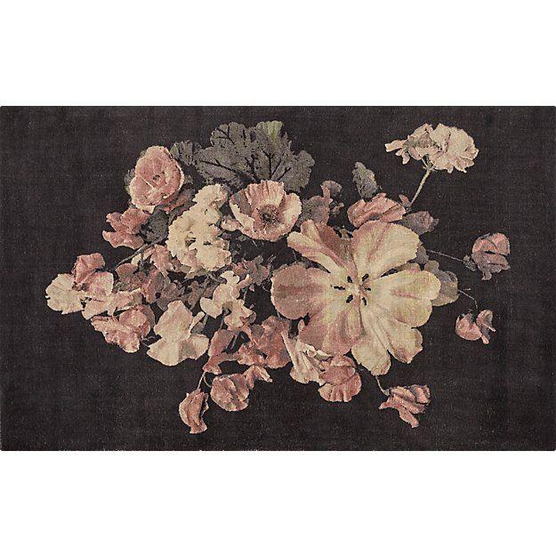 Daphnefloralrug5x8s19 Floral Rug Floral Carpet Black Floral