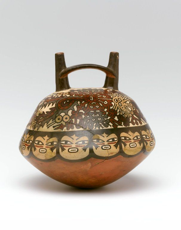 Nasca. Double Spout and Bridge Bottle, 100 B.C.E.-600 C.E. Ceramic, pigment, 8 x 8 x 8 in. (20.3 x 20.3 x 20.3 cm). Brooklyn Museum, Henry L. Batterman Fund, 41.426. Creative Commons-BY (Photo: Brooklyn Museum, 41.426_front_PS1.jpg)