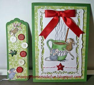 Christmas Card Casa pulsanti del mouse e archi
