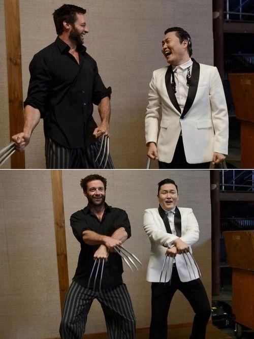 Psy visits Hugh Jackman on 'The Wolverine' set