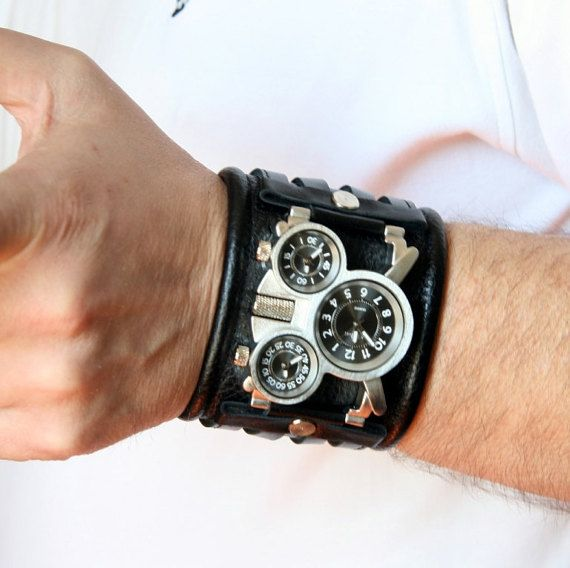 Mens wrist watch Leather bracelet Tuareg-4 Gifts for Men by dganin