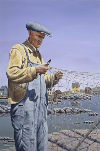 """""""A Time For Mending"""" by Trevor Bradley Repairing the torn fishing nets which was call """"mending the nets"""" in Newfoundland, Canada."""