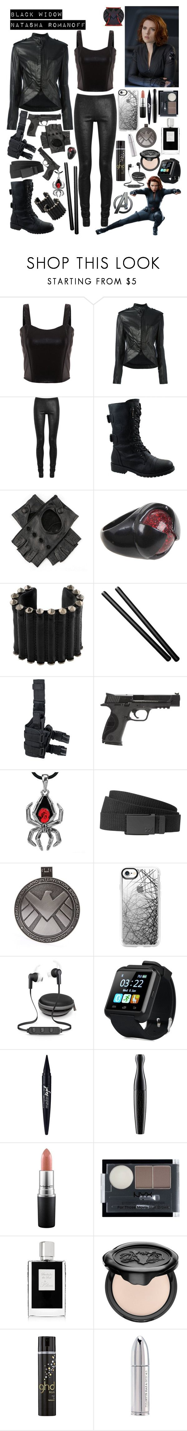 """Black Widow / Natasha Romanoff"" by lexisamskywalker on Polyvore featuring Haider Ackermann, Rick Owens, Forever Link, Black, Marvel, Ann Demeulemeester, Smith & Wesson, Billabong, Casetify and iWorld"