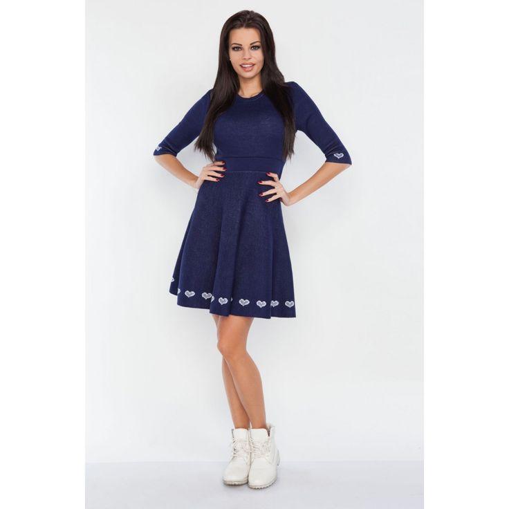 Rochie tricotata casual cu model decorativ de lungime mini  #rochiesport #rochiedezi