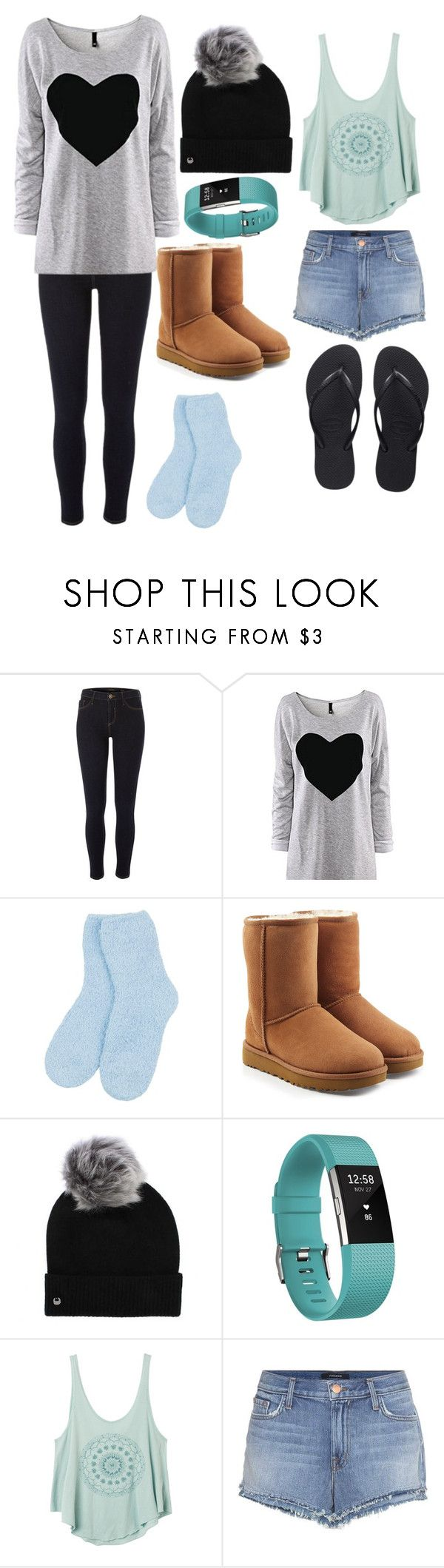 """""""My two fav looks for Summer and Winter"""" by parisgirl18 ❤ liked on Polyvore featuring River Island, UGG, Fitbit, RVCA, J Brand and Havaianas"""