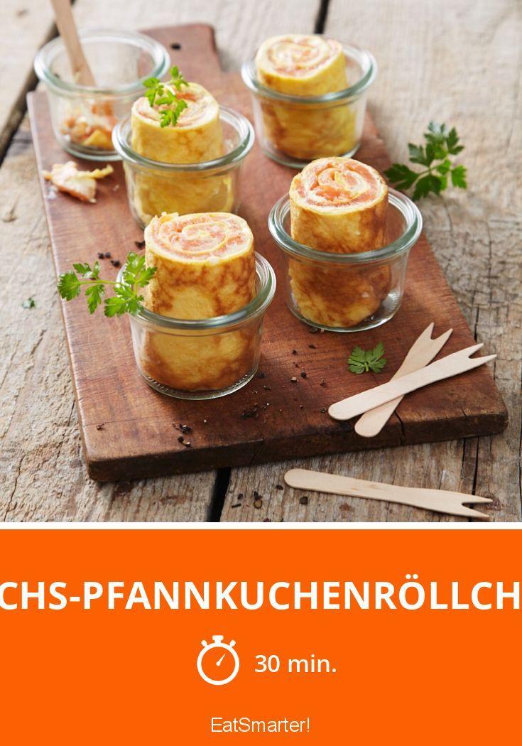 Lachs-Pfannkuchenröllchen - da greift jeder gerne zu.