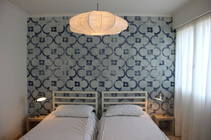 A fresh and seaside like house in Cannes by Nomade Architettura http://www.nomadearchitettura.com/#all  walldeco wallpaper, white bed, hanging paper lamp