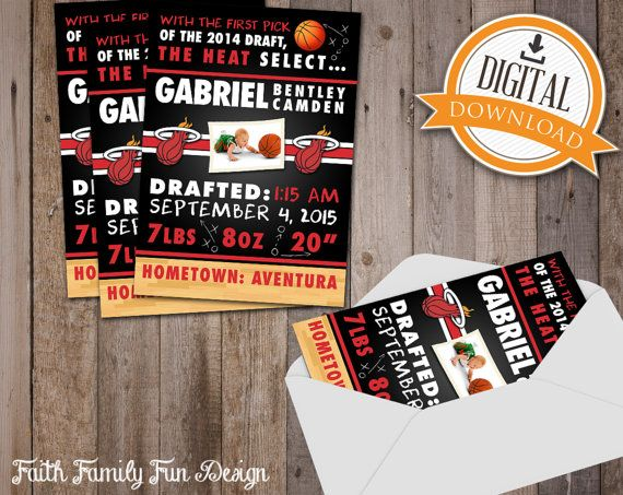 14 best personalized nba wall art images on pinterest nba nba miami heat basketball photo birth announcements 5 x 7 printable any team basketball photosmiami heat basketballsports baby negle Gallery