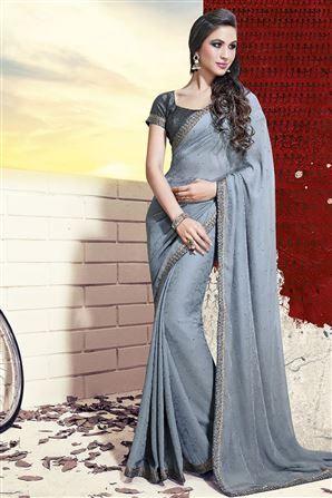 Printed Jai Ho Grey Saree