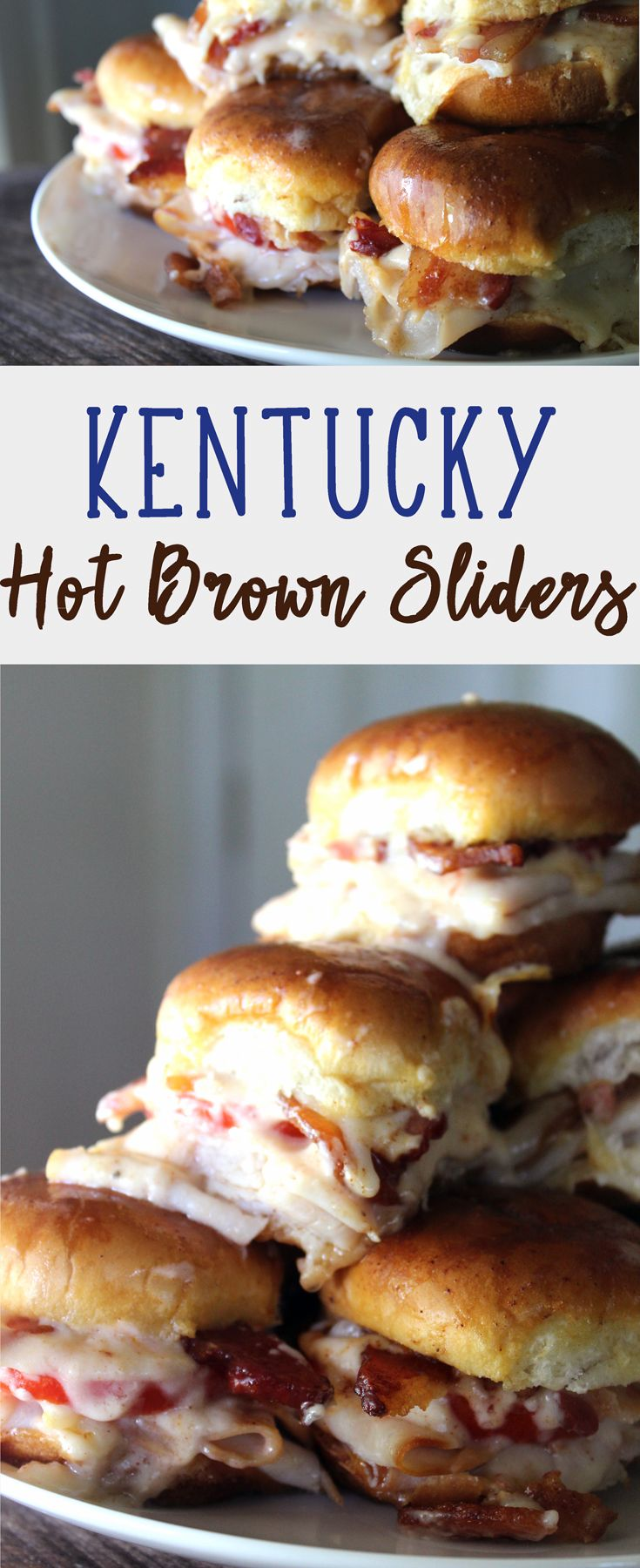 These Kentucky Hot Brown Sliders are so good. Yummy turkey, buttered buns, fresh ripe tomato, cheese gravy (yes, I said CHEESE GRAVY), and bacon. #kentuckyhotbrown via @Buy This Cook That