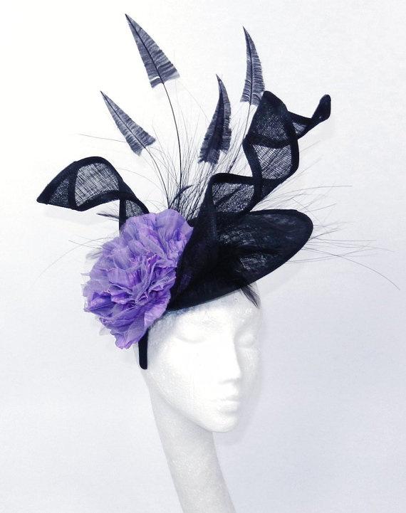 Black Purple Fascinator Hat for Kentucky Derby by Hatsbycressida ... 67ad94acc14