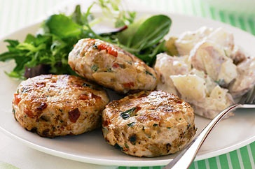 Chicken rissoles.. Easy to make and can easily use other ingredients as substitutes. Plus DS eats the veggies grated up in here!