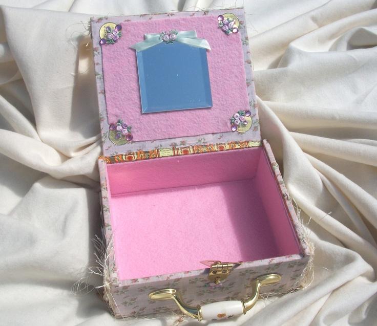 Little girl pink cigar box purse - inside