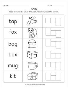 cvc word worksheets for preschool and kindergarten kids revision worksheets cvc worksheets. Black Bedroom Furniture Sets. Home Design Ideas